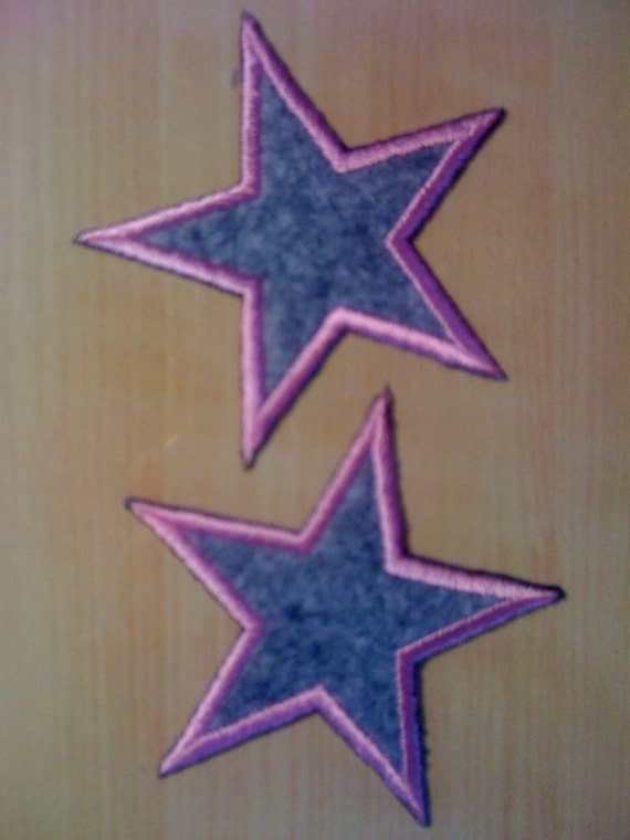 3 Iron on Pink and Grey Stars A-6