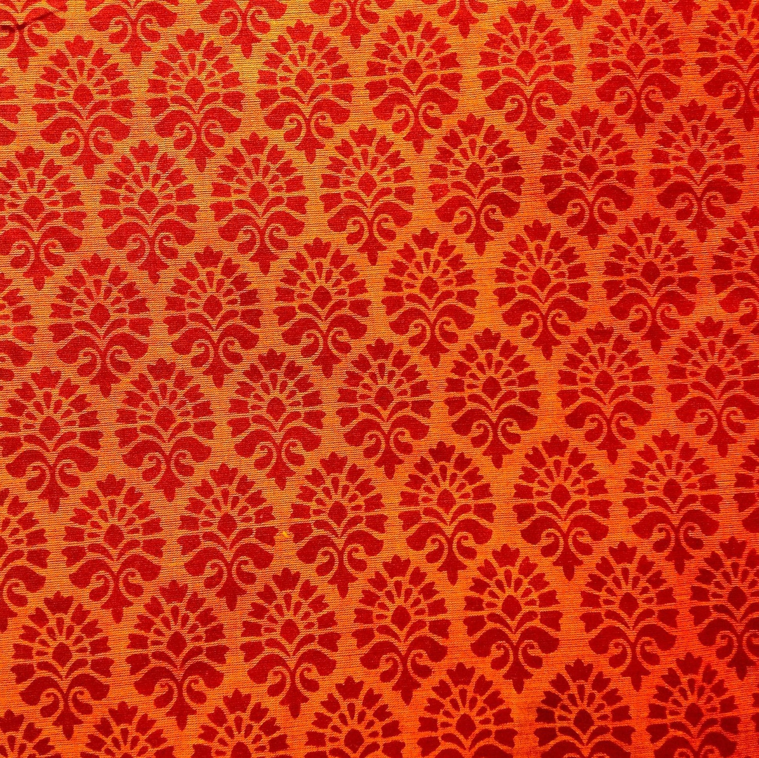 Cotton fabric indian fabric orange block print fabric for Fabric printing