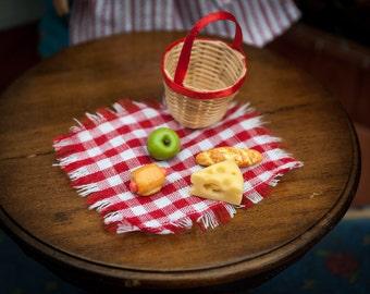 Prairie Pioneer lunch Accessories for American Girl Doll Mini Kirsten, Barbie, BJD basket, napkin, sausage, swiss cheese, apple, bread