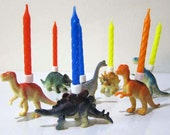 Dinosaur PARTY ANIMALS Birthday Candle Holders Set - 7