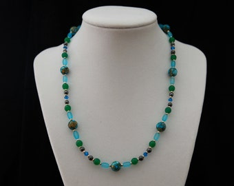 Bright Blue and Green Mosaic Necklace