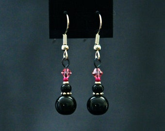 Luscious Black and Pink Drop Earrings