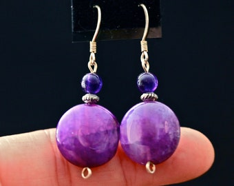 Purple Crazy Lace Drop Earrings