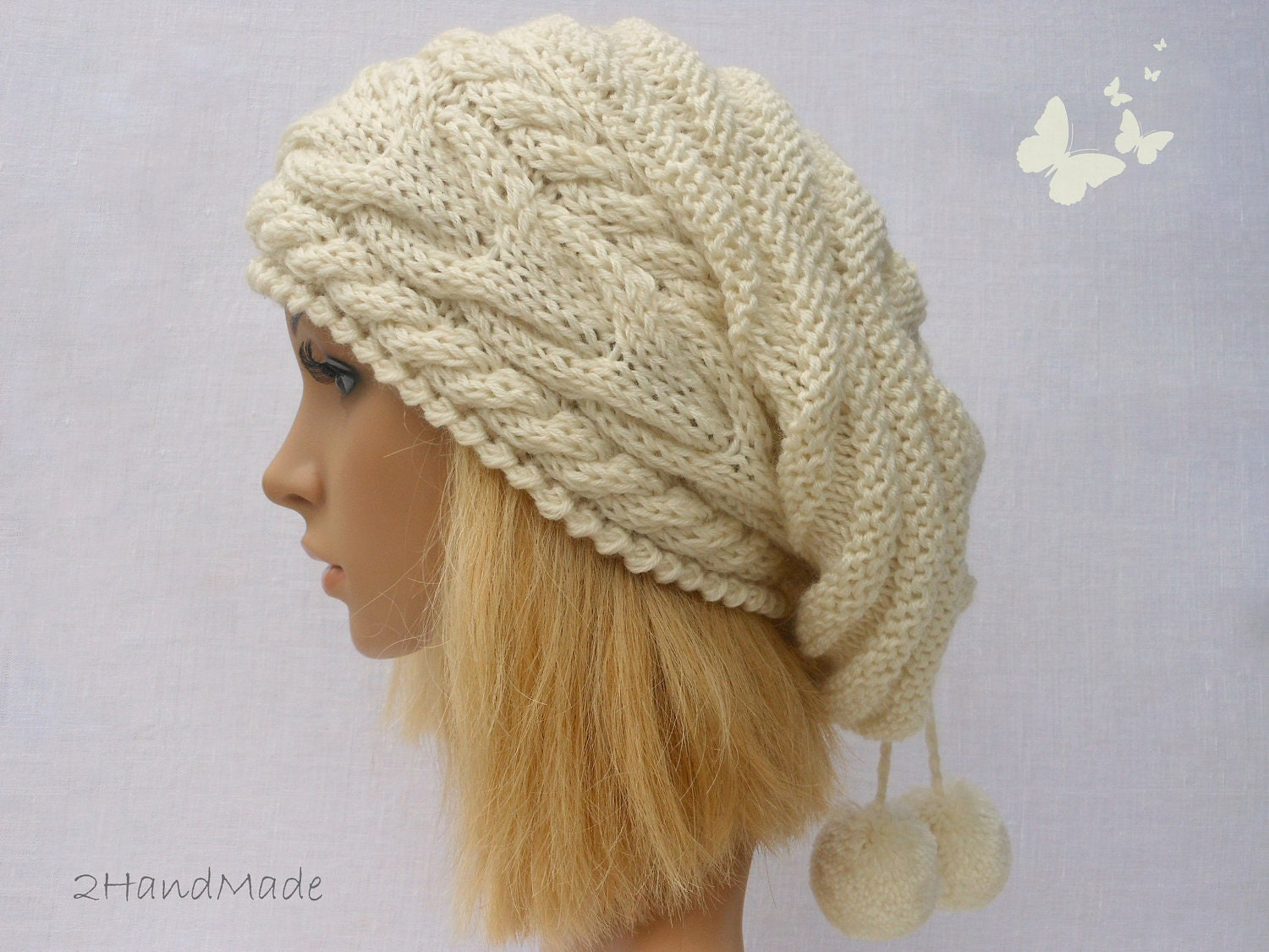Slouchy Cable Knit Hat Pattern : Slouchy Beanie Slouch Hats Oversized Baggy Cabled Hat by 2HandMade