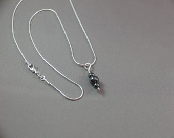 Necklace - .999 Fine Silver and Hematite