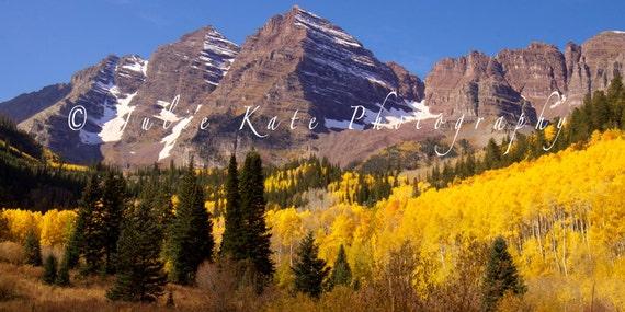 "20"" x 40"" Print on Canvas, Maroon Bells, Colorado Aspen Trees, Nature Landscape Fine Art Print - ""Maroon Bells Panoramic"""