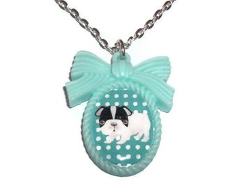 Mint Green Dog Necklace, French Bulldog Puppy Kawaii Cameo Necklace,