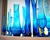 Still life, Color photography, modern home decor, minimal, bright, vases - Reflections in Blue  8x10 Fine Art Photograph