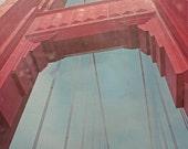 San Francisco photography, Golden Gate Bridge, landscape, red, architecture - Golden Gate Tower 11x14 Fine Art Photograph