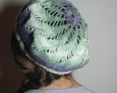 Women's Crochet Hat Purple Green