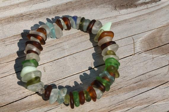 Multi color Lake Erie Beach Glass and Beach Stone Bracelet expandable