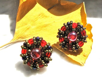 Holiday Earrings Clip on Cranberry with Multi and Gold Colored Beading Vintage Gift for Her