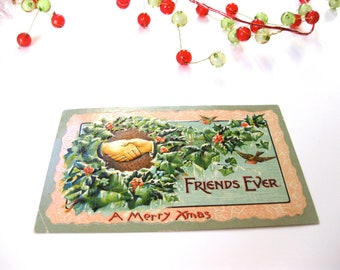 Antique Postcard Christmas Made in Germany Embossed Vintage Stamp Wreath Bird
