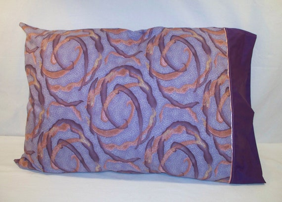 Standard Size Pillowcase - Plum with Peach Swirl Print with Dark Plum Band