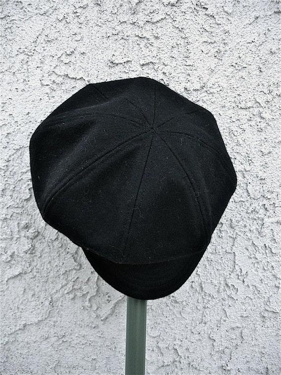 Vintage black Newsboy hat,  Black boy hat, beret hat for boys