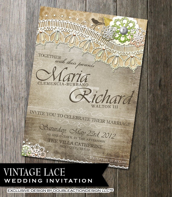 Rustic Lace Wedding Invitation Printable Wedding Invitation