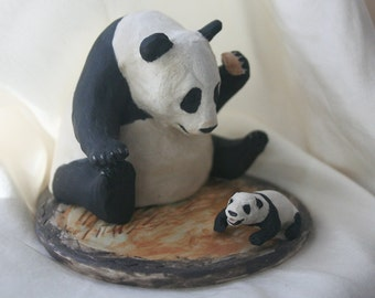 Sneezing Baby Panda Co-meme-orative Ornament Porcelain Miniature Sculpture