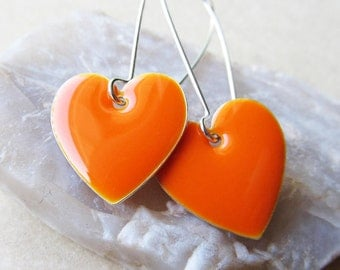 Dangle Drop Earrings - Tangerine Orange Epoxy Enamel Hearts - Sterling Silver Plated over Brass (F-1)