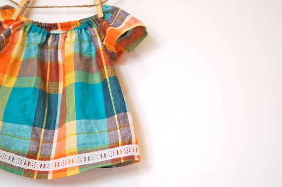 Girls Peasant Top / Vintage Cotton / Orange and Teal Madras Plaid  / newborn - 3T