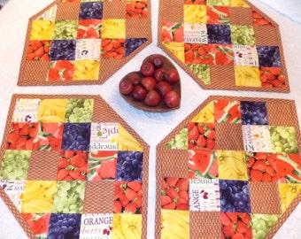 Strawberry Place Mats, Set of 4, Red, Yellow, Blue, Banana, Watermelon, Grape