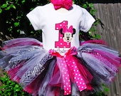 Minnie Mouse Birthday Number Tutu Outfit with Hot Pink and Zebra Tutu