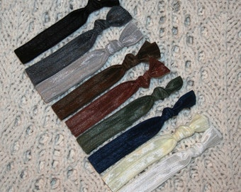 9 Elastic Hair Ties - Business Professional Colors OR You Choose - Over 50 Colors - Anthropologie, Emi Jay Inspired - SHIPS IMMEDIATELY