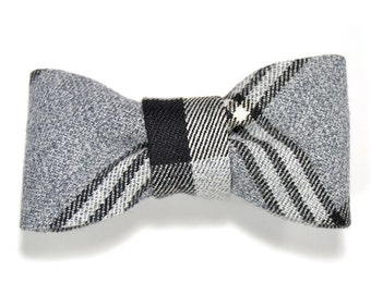 Men College black and grey plaid bowtie - Baby, toddler boys tie Kids Clip-On Bow Tie
