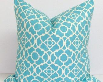 BLUE PILLOW.20x20 inch Aqua.Pillow Cover..Decorative Pillow Cover.Housewares.Home Decor. Blue Pillow..Waverly Pillow Cover.Cushion.cm