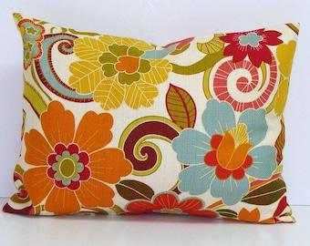 PILLOW.FLORAL PILLOW.12x16 or 12x18 inch.Pillow Cover.Decorative Pillows.Housewares.Pillows.Flowers.Home Decor.Floral.Turquoise.Orange.cm