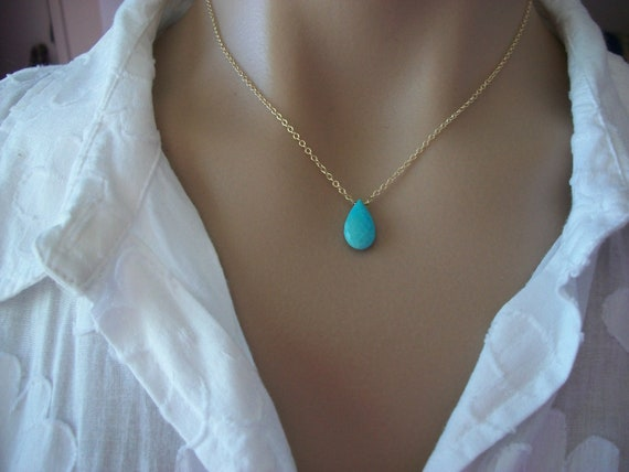 Sleeping Beauty Turquoise Teardrop Necklace,Gold Fill,Faceted Gemstone,Sky Blue