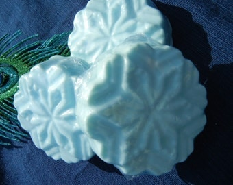 Cocoa Butter Bar Soap -  Winter Garden Scented - Ice Blue Snowflake