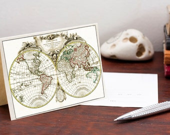 Greeting Card With Ancient World Map, perfect  for Christmas Gifts, Mappe du Monde
