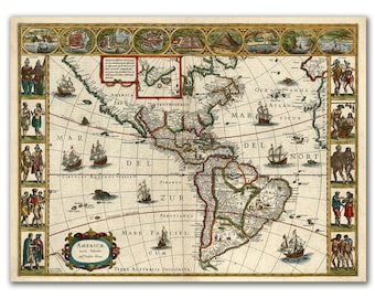 "13x17"" Antique World Map printed on parchment paper, America Nova Tabula from 1639, map of America, nursery room"