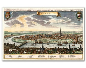 13x19 Sevillia City View from 1638, Vintage map printed on parchment paper, Landscape, Spain, City View