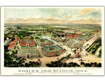 "13x19"" St. Louis World Fair View from 1904, Vintage map printed on parchment paper, bird eye view, City Map, Landscape"