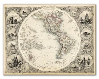 "13x17"" Antique World Map printed on parchment paper, Western Hemisphere 1851  , Vintage map, America"