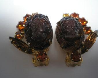 D&E aka Juliana Cameo Earrings  Topaz,Amber  Item No: 16305