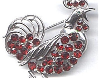 CORO  Red Rooster Brooch   Item No: 11679