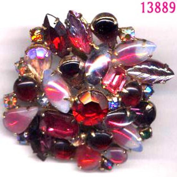 Vintage Multi Shades of Red and Multi Shape Stone   Unsiigned