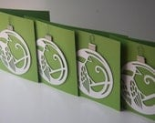 Bird ornament holiday card - 4 PACK