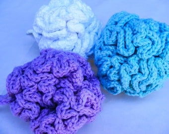 Crochet Shower Puff with Loop 100% Pure Cotton Machine Washable loofah Also available in Bath Gift Set Pick your color