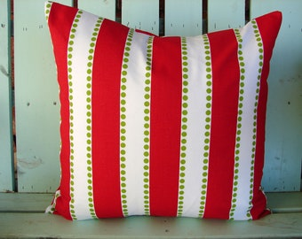 Sale  red,white,chartreuse green striped - Christmas pillow- Holiday- decorative pillow cover-gifts under 40-throw pillow