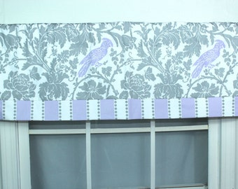 Birdie  banded straight valance grey and lavender