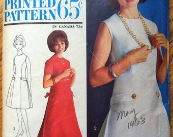 "1960's Simplicity Tailored Princess Dress Pattern - Bust 32""  - no. 4944"
