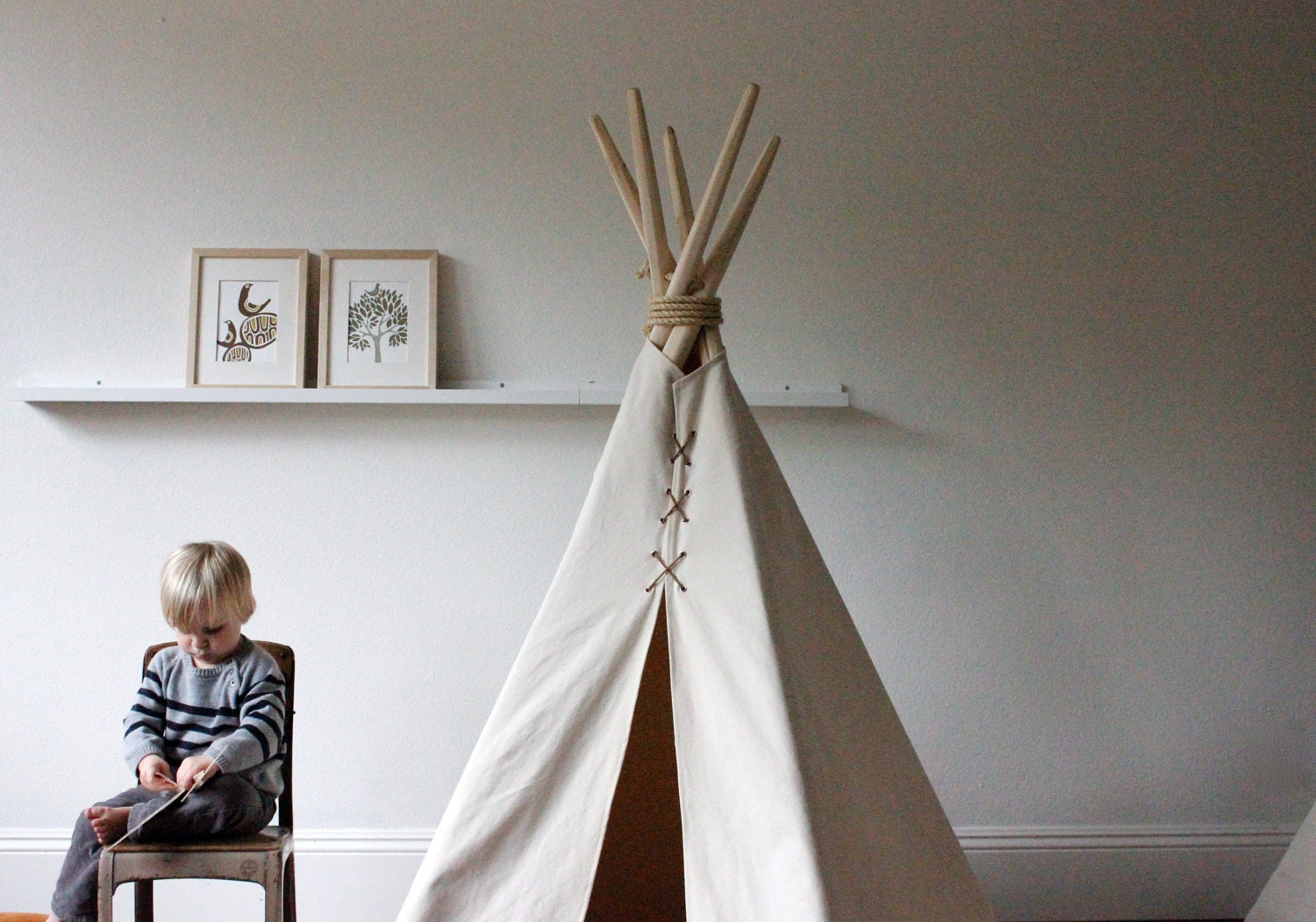 mini 5 ft fold away canvas teepee by houseinhabit on etsy. Black Bedroom Furniture Sets. Home Design Ideas