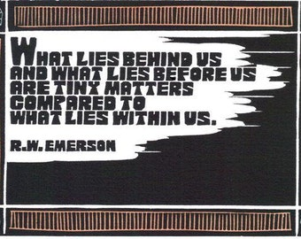 Original Linocut of Quote By R.W. Emerson by Ken Swanson (1221)