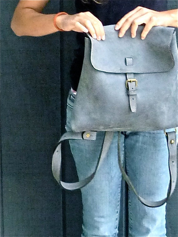 SALE Blue Jeans Nubuck leather Charles et Charlus FRANCE bag, vintage, Grey