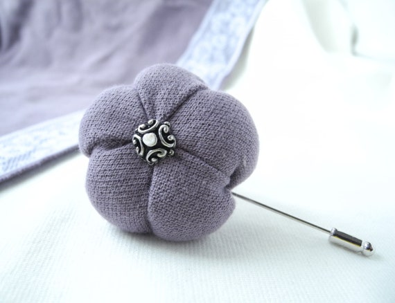 Dahlia purple pin fabric flower brooch lavender Free shipping