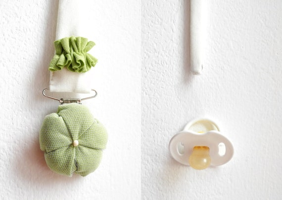 Pacifier holder fabric flower matching dummy keeper fashion baby girl newborn gift  handmade - ready to ship