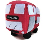 Red bus toy, plush personalized gift, childrens bedroom accessory, Made to Order